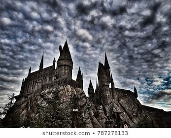 The Harry Potter S Castle With A Dramatic Sky Background In The Universal Studio In Los Angeles January 2018 Stock Images Free Photo Stock Photos