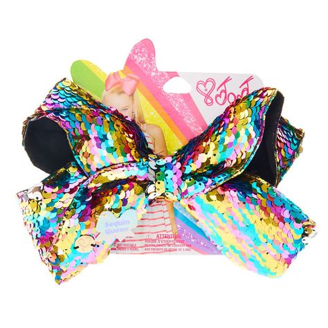 Jojo Siwa Bow, Rainbow Sequin, Reversible Clip On Hair Bow, Large, Authentic Bow
