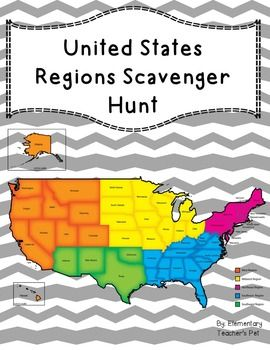 The 5 Regions of the United States- Scavenger hunt | Us ...