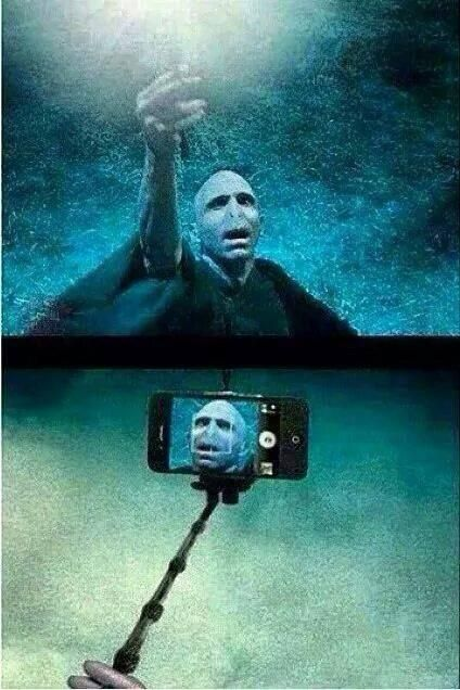 Voldemort got a selfie stick for Fathers day!