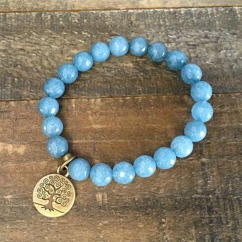 Calming, Aquamarine jade gemstones mala bracelet