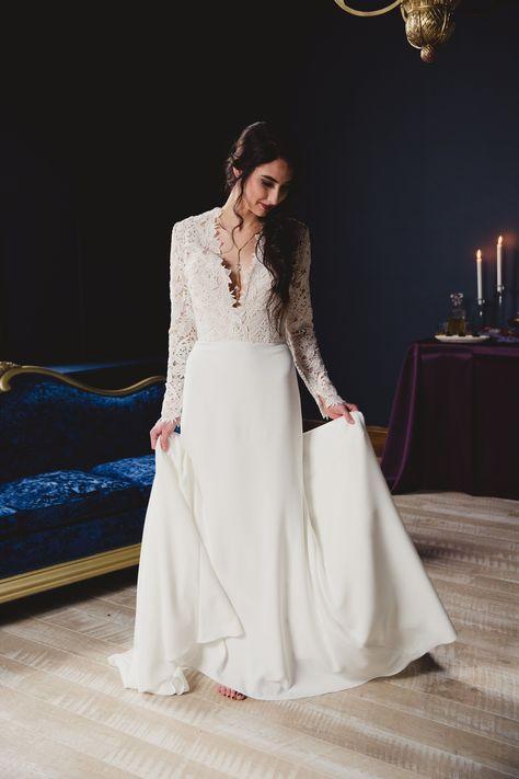 sleek sophisticated lace top crepe skirt wedding dress with plunging neckline krystal and co photography #UtahBride #UtahWedding #BitsyBridal #NewYorkBridalFashionWeek #NYFW #FashionWeek #TaraKeely