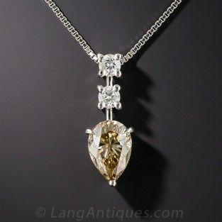 1 33 Quilates Colgante De Diamante En Forma De Pera Marron Natural Gia Colgante De Diamante Joyeria De Plata Colgantes