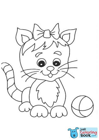 Free Printable Cat Coloring Pages For Kids For Free Cute Kitten With Bow Tie Coloring Pages Cizimler Cizim Kedi