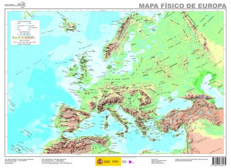 Mapa Fisic De Europa.Mapa Fisico De Europa Mapas De Cartografia General De