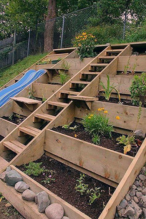 Amenager Un Jardin En Pente Raide Avec Terrasses A Cadre En Bois