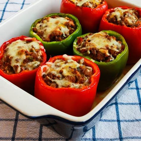 Stuffed Peppers with Turkey Italian Sausage, Ground Beef and Mozzarella