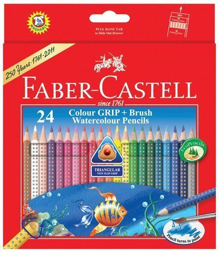 Faber Castell Colour Grip Water Colour Pencils 24 Shades
