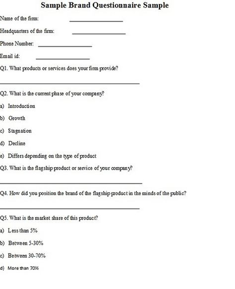 Sample Brand Questionnaire Sample Brand Is Created In The Minds