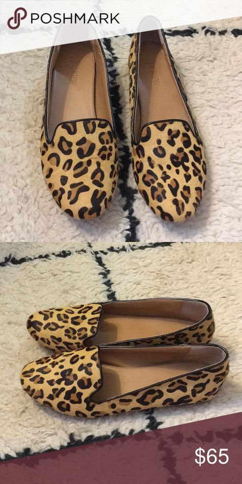 f85ba5a09c3 J. Crew Factory Cora Leopard Print Loafers J. Crew Factory E1341 Cora  Leopard Print Calf Hair Loafers Flats Women s Scuffed bottoms