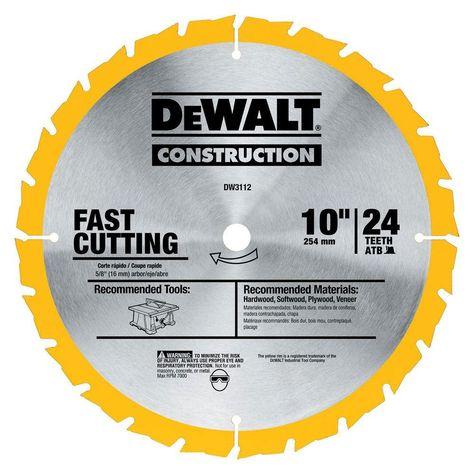 Dewalt Construction 10 In 24 Teeth Thin Kerf Table Saw Blade Table Saw Blades Circular Saw Blades Table Saw