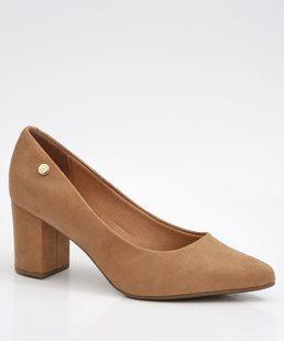 Sapato Feminino Scarpin Vizzano Salto Grosso Vinho