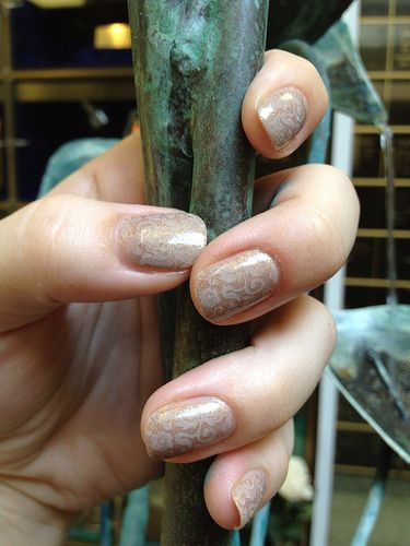 tone-on-tone stamped manicure