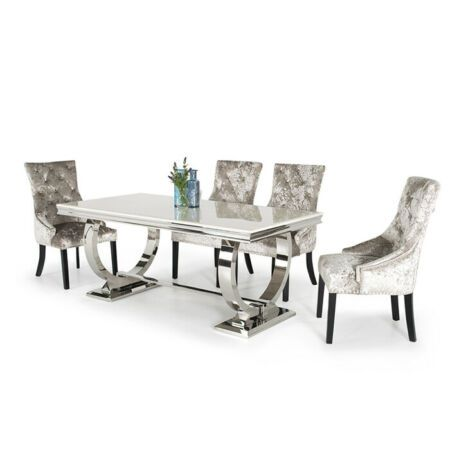 Details About Arianna Cream Marble Chrome 2m 7 Piece Dining Set