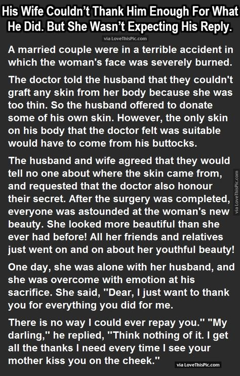His Wife Couldn't Thank Him Enough For What He Did. But She Wasn't Expecting His Reply. funny jokes story