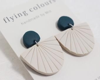 unique Polymer  clay earrings Minimalist simple shapes