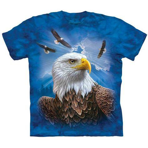 American Bald Eagle T Shirt The Mountain Eagle Mountain Patriotic Bird Tee S-5XL
