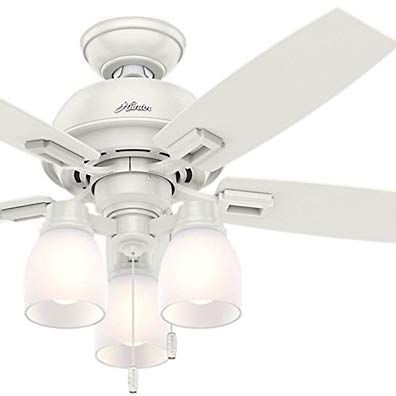 Hunter Fan 44 Fresh White Ceiling Fan With Light And Led Bulbs