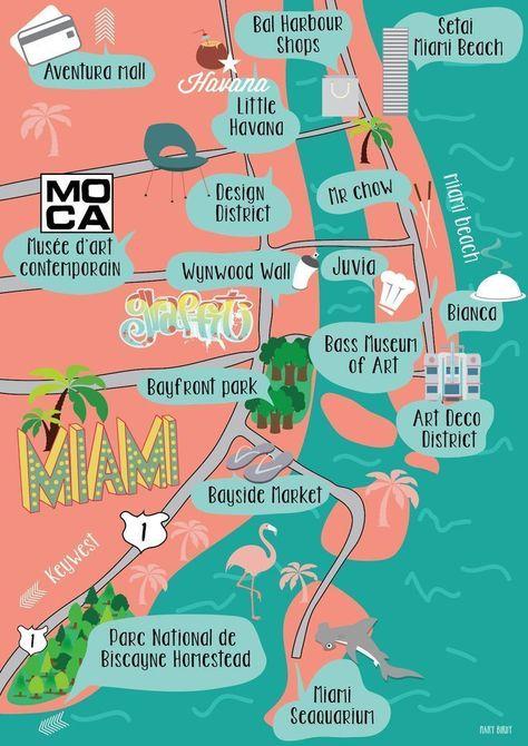 Karte Miami Von Mary Birdy Illustration Karte Miami Von Mary Birdy