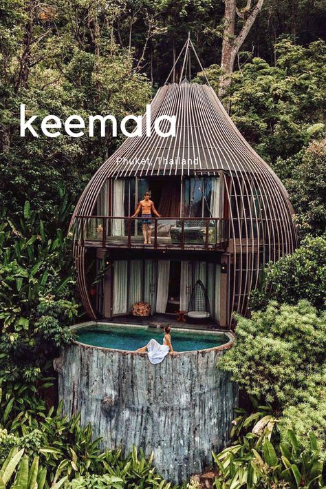 Beautiful jungle house via . Beautiful jungle house via . Keemala Phuket, Architecture Design, Bamboo Architecture, Tropical Architecture, Hotel Swimming Pool, Green Scenery, Jungle House, Tree House Designs, Scary Places