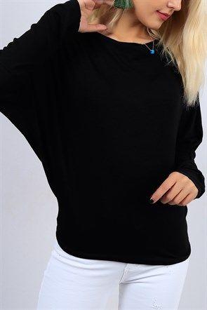Yarasa Kol Salas Yaka Siyah Bayan Bluz 9155b Moda Stilleri Kadin Giyim Giyim