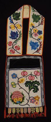 Anishnabe (Ojibwe aka Chippewa) bead-embroidered bandolier bag