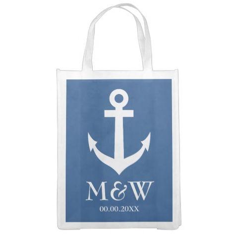 Navy Blue Nautical Anchor Reusable Wedding Bag Wedding Favors