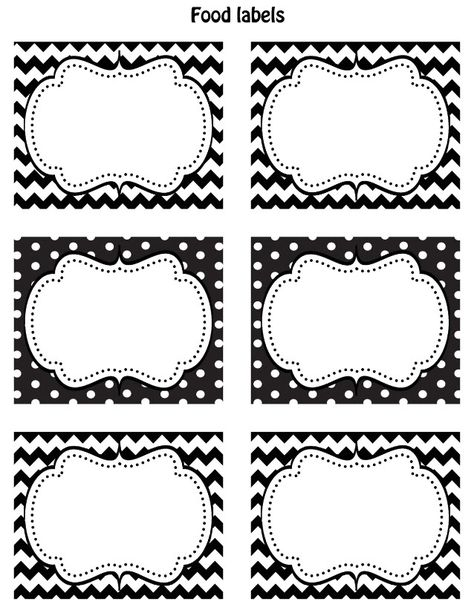 FREE Black & White Printable Labels — Celebrations at Home. With chalkboard paint!