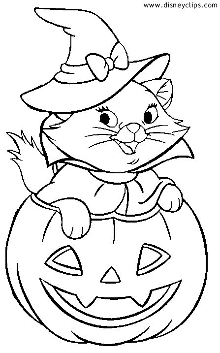 Marie Halloween Coloring Sheet Disney Halloween Pinterest