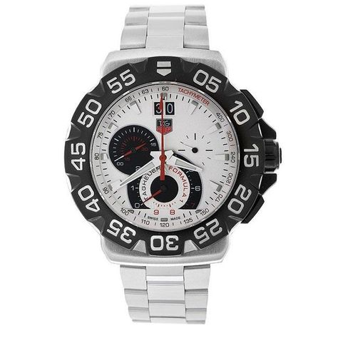 TAG Heuer Men's 'Formula Size: 1' Stainless Steel Chronograph Watch (CAHSize: 10Size: 1Size: 1.BA0854), Blue Size: 1