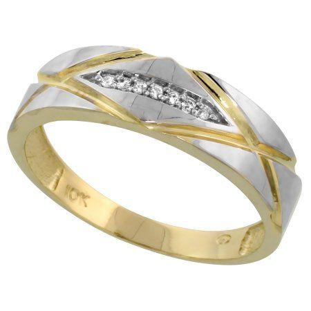 1//4 inch 6mm wide 10k Yellow Gold Mens Diamond Wedding Band Ring 0.04 cttw Brilliant Cut