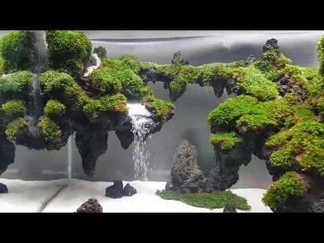 Sand Waterfall Aquascape In The Aquarium 38x20x26 Airterjunpasir 30