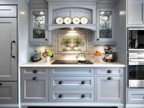 Idee Cuisine Cottage Campagne Decoration Style Anglais Meubles Gris Cottage Kitchen Cabinets Blue Gray Kitchen Cabinets Cottage Kitchen Design