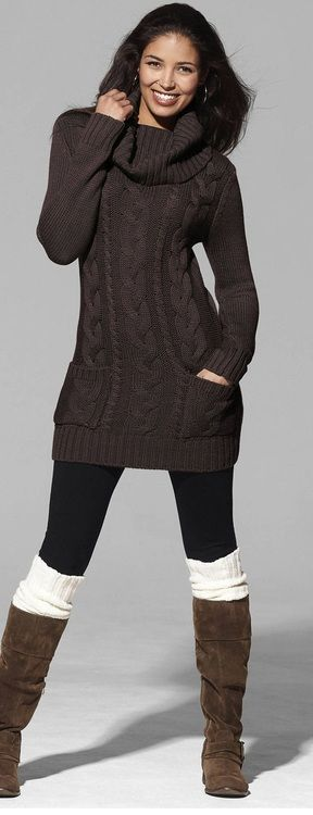 """I.want.this.outfit. I've been searching everywhere for a sweater dress, flat brown boots, and knitted boot """"socks"""""""