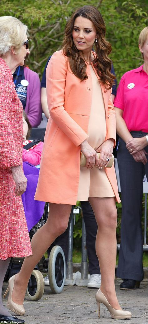 In 2013 when she was expecting Prince George, the royal stepped out in an apricot dress 'from a private dressmaker' for a visit to Naomi House Hospice, in Hampshire, pictured. Mystery of Kate Middleton's 'private dressmaker'   Daily Mail Online