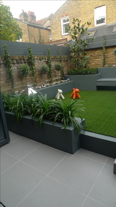 Modern Small Low Maintenance Garden Fake Grass Grey Raised Beds Contemporary Planting In 2020 Low Maintenance Garden Design Small Garden Design Small Backyard Gardens