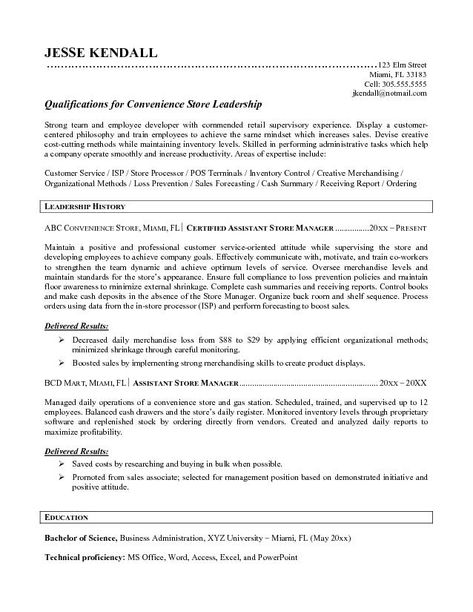 Office Administrator Curriculum Vitae -    wwwresumecareer - retail manager resume skills