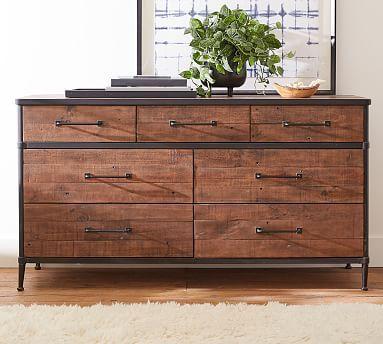 Juno Reclaimed Wood 7 Drawer Wide Dresser Painted Bedroom Furniture Diy Furniture Bedroom Extra Wide Dresser