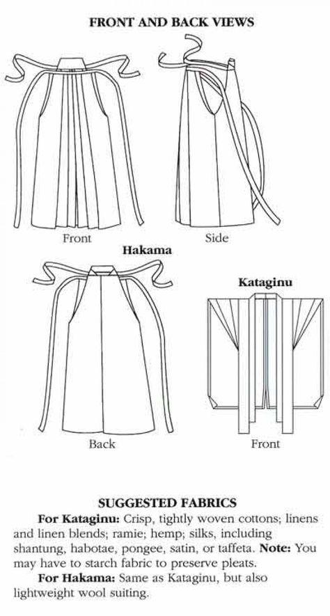 Sewing Dress Folkwear Japanese Hakama and Kataginu Sewing Pattern