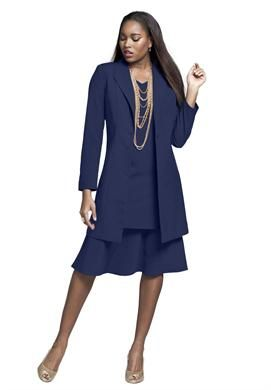 Duster Jacket With A Line Dress Plus Size Career Dresses Roamans