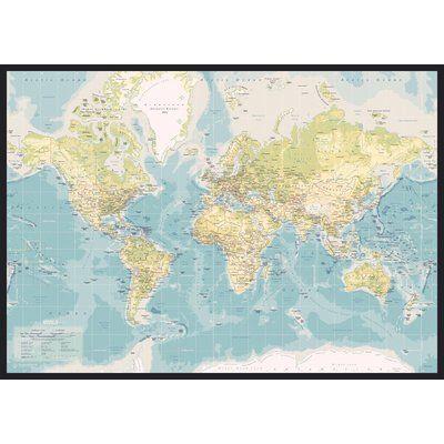 East Urban Home World Map Retro Graphic Art Wrapped On Canvas Wayfair Co Uk World Map Art Map Art Print Online Wall Art