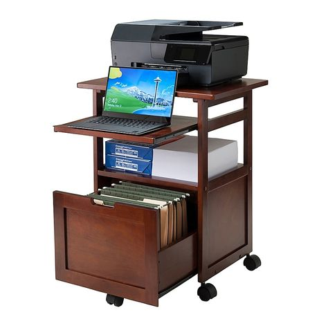 Shop for Winsome Piper Work Cart / Printer Stand with key board. Get free delivery On EVERYTHING* Overstock - Your Online Office Furniture Store! Printer Desk, Printer Cart, Printer Storage, Printer Cabinet, Printer Stand, Office Printers, Laptop Storage, Smart Storage, Printer Station
