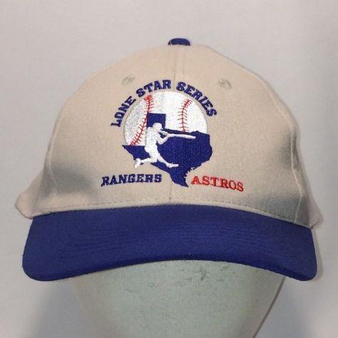 6ca18211 Texas Rangers Houston Astros Baseball Cap Dad Hat Cream Blue Vintage Hats  T8 JN8082