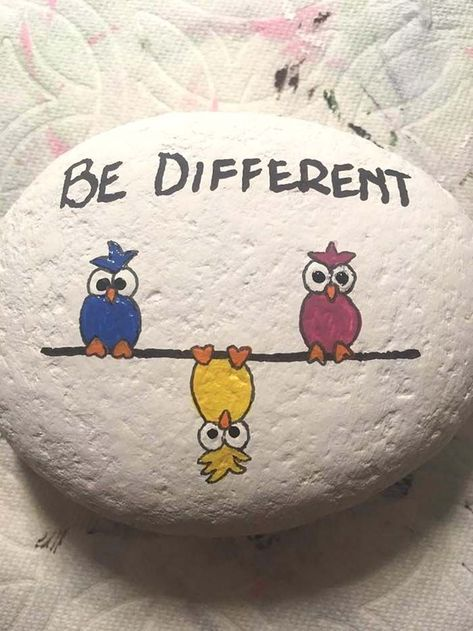 100+ Best Painted Rocks That Are Easy and Fun To Do -  Be Different Painted Rock  - #AbstractPaintings #CharacterDesign #Easy #Fun #Painted #Paintings #rocks