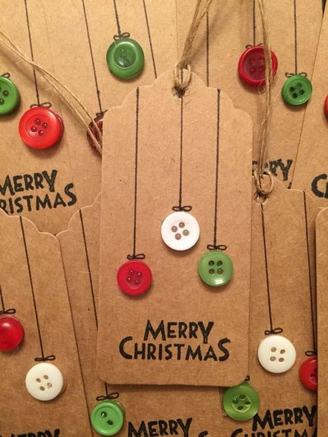 Christmas Gift Tags Made Out of Brown Paper and Buttons.                                                                                                                                                                                 More