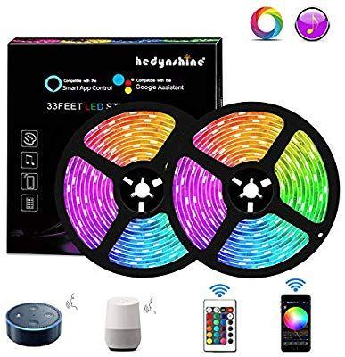 Amazon Com Hedynshine 33 Ft Led Strip Lights Waterproof Tape Lights With 300 Leds Smd 5050 Rgb Rope Lights Strip Lighting Led Strip Lighting Led Light Strips