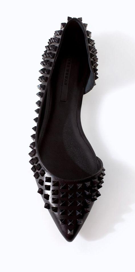 Zara black studded ballet flats we need (for $60!) found my shoe on Pinterest hohoho