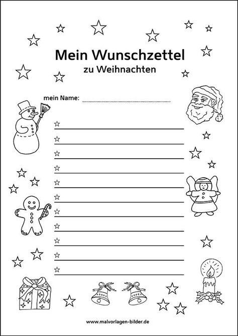 Wunschzettel Zum Ausdrucken Kostenlose Vorlage Deutsch
