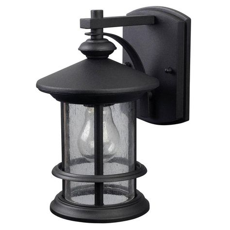 Canarm Ryder 1 Light Black Outdoor Wall Lantern Sconce With Seeded Glass Iol152bk Hd Outdoor Wall Lighting Outdoor Wall Lantern Outdoor Wall Mounted Lighting