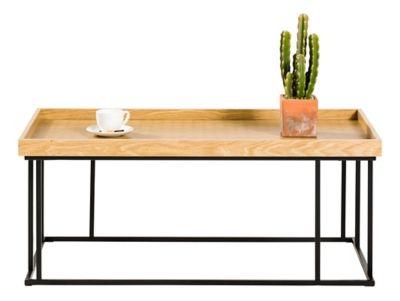 Table Basse Industrielle Meso Decor Chene Serigraphie Noir Avec